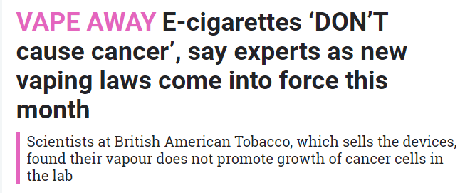 ... by BAT has gained some traction in the media over the weekend, most  notably in the Daily Mail and The Sun newspapers. The research found that  vaping did ...