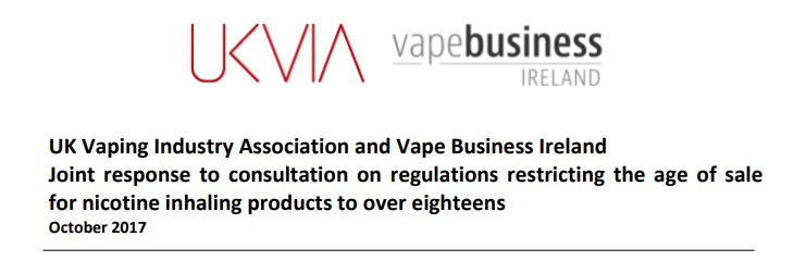 UKVIA and VBI issue joint submission to Northern Ireland consultation on regulations restricting the age of sale nicotine inhaling products to over 18's