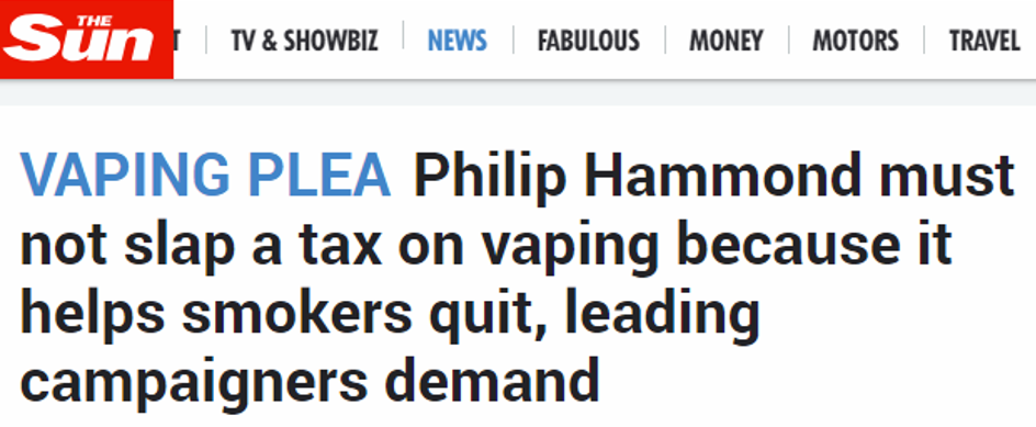 UKVIA The Sun Vaping Tax