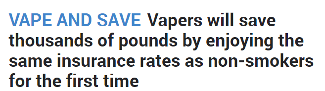 Vapers will save thousands of pounds by enjoying the same insurance rates as non-smokers for the first time
